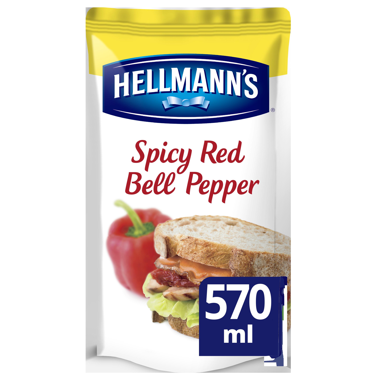Hellmann's Sandwich Saus Pittige Rode Paprika 570ml - Hellmann's Sandwich Sauzen zijn gemaakt met natuurlijke ingrediënten zoals rode paprika en TABASO©
