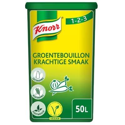 "Knorr 1-2-3 Groentebouillon krachtige smaak Poeder opbrengst 50L - Knorr 1-2-3 Groentebouillon geeft gerechten een krachtige smaak en is glutenvrij."""