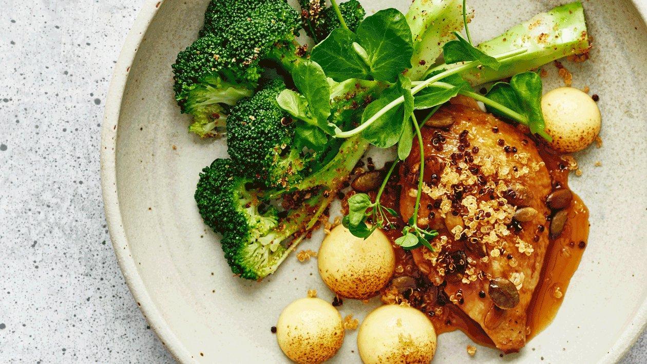 Duif met polenta, broccoli, vadouvan en sinaasappel