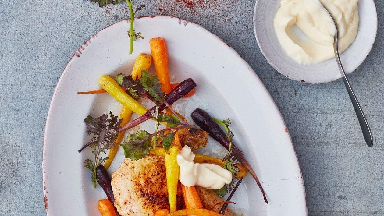 Maiskip met oven geroosterde bospeen en aardappels met aioli