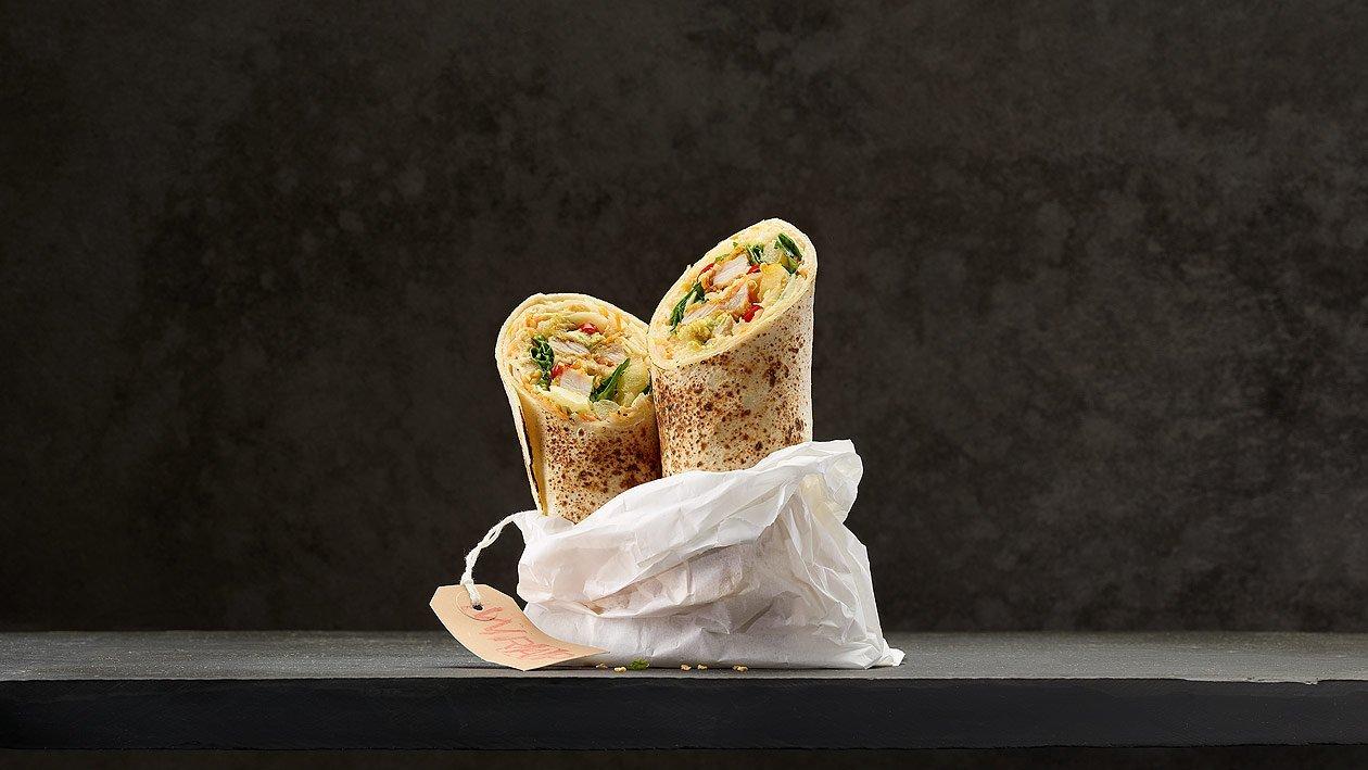 "Wrap met ""coleslaw"" en krokante kip"
