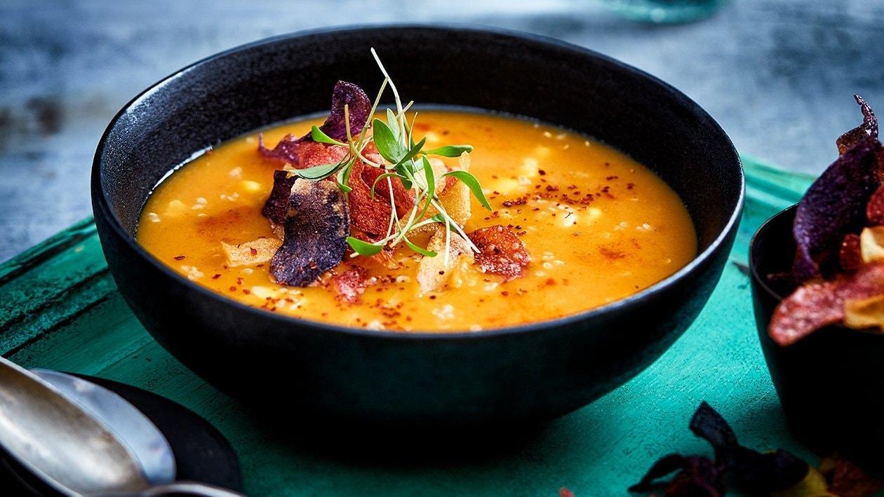 Peruaanse zoete aardappel soep met quinoa
